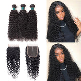 9A kisslove Brazilian Jerry Curly Hair 3 Bundles with 4*4 Closure Human Hair
