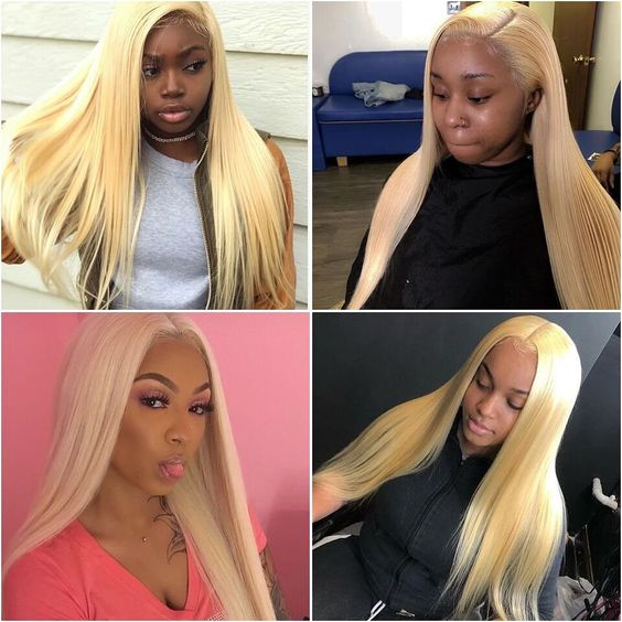 kisslovehair Brazilian 613 Blonde Bundles With 4*4Closure Straight Human Hair Free Part