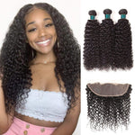 9A Brazlian Jerry Curly 3 Bundles With 13*4 Free Part Lace Frontal Human Hair