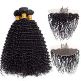 9A Brazlian kinky Curly 3 Bundles With 13*4 Frontal Human Hair