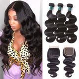 9A kisslovehair peruvian Body Wave Hair 3 Bundles With 4*4 Closure