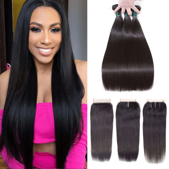9A Kisslovehair Straight Hair 3 Bundles With Closure 4x4 Peruvian Human Hair