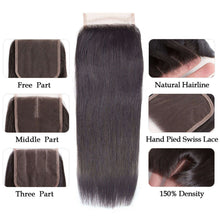 Load image into Gallery viewer, 9A Kisslovehair Straight Hair Bundles With Closure Peruvian Human Hair 3 Bundles With 4x4   Closure For Black Woman