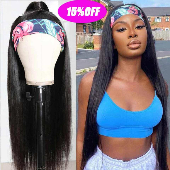 Cheap Headband Wig Straight Human Hair Wigs -KissLove Hair