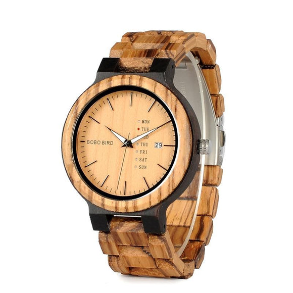 BOBO BIRD 44mm Black and Tan Wood Watch