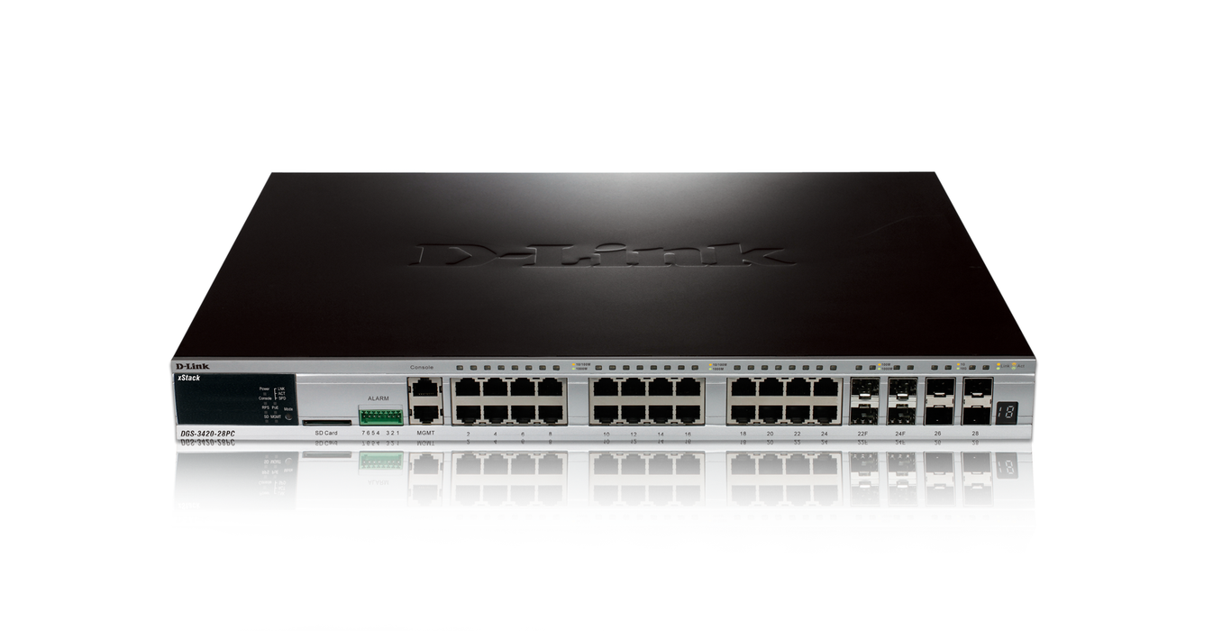 D-Link DGS-3420-28PC XSTACK 24PORT GIGABIT L2 SWITCH 4COMBO