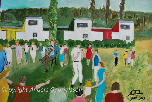Original painting - Midsommar i Haverdalsstrand