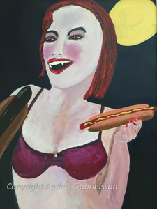 Kvinna med blodkorv (Woman with a blood sausage)