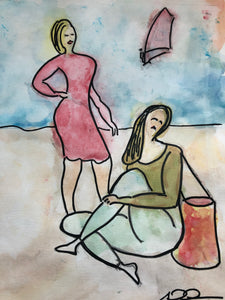 "Original painting ""Två kvinnor på stranden (To women at the beach)"""