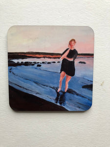 "Coaster ""Flicka vid Båtabacken (Girl on the beach of Båtabacken)"""