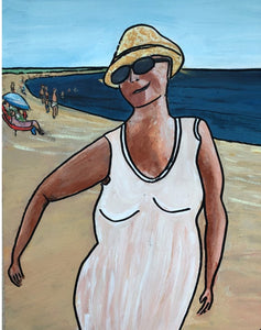 "Original painting ""Kvinna på stranden (Woman on the beach)"""