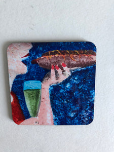 "Coaster ""Korv och champagne (Sausage and champagne)"""