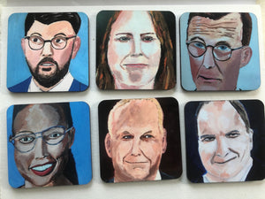 Coaster set of six swedish  politicians