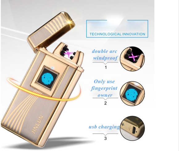 High Tech Enter Fingerprint Touch To Unlock Windproof USB Double Arc