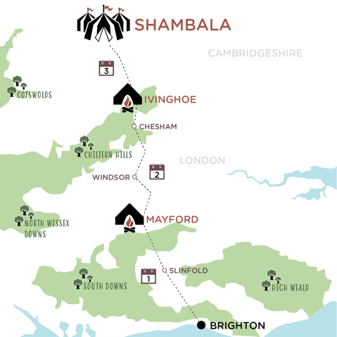 Brighton to Shambala Map