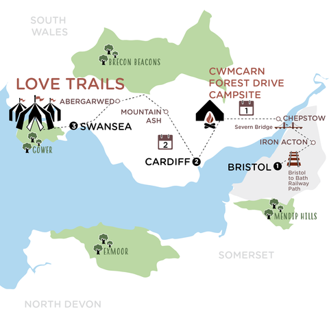 Bristol to Love Trails map