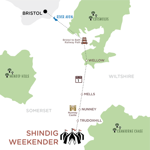 Bristol to Shindig map