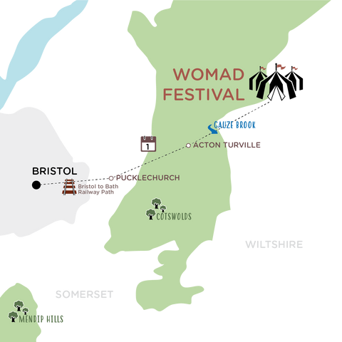 Bristol to WOMAD Festival map