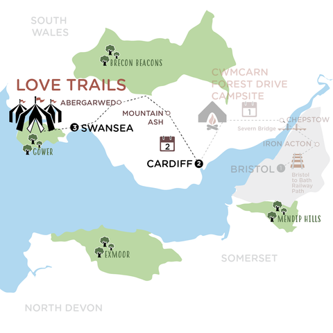 Cardiff to Love Trails map