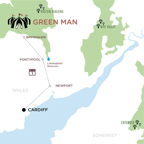 Cardiff to Green Man map