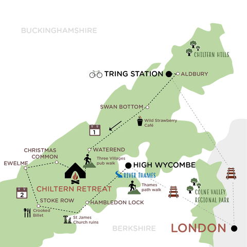 Escape The City to the Chilterns map