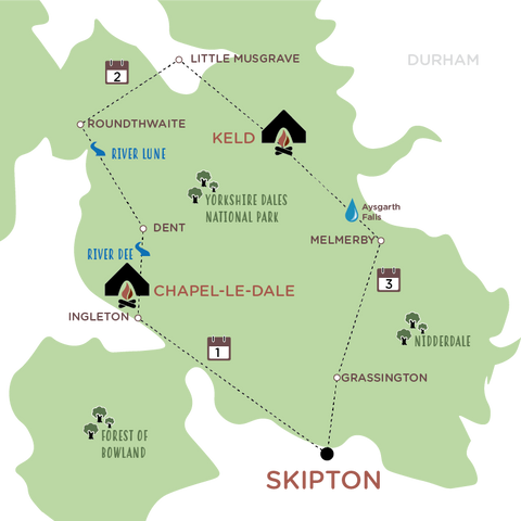 Escape the City to the Yorkshire Dales illustrated route map