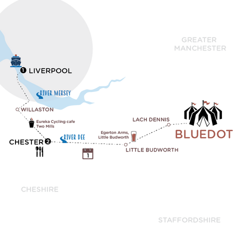 The route - Liverpool and Chester to Bluedot