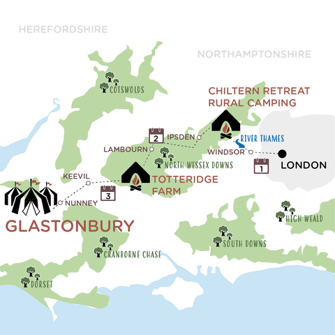 London to Glastonbury map