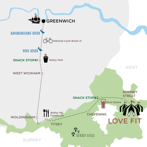 London to LoveFit map