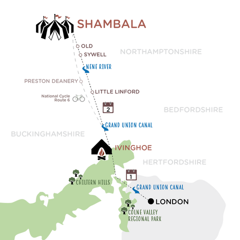 London to Shambala Map