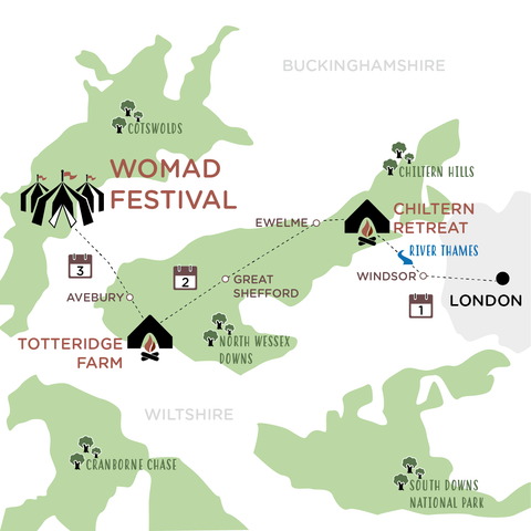 London to WOMAD map