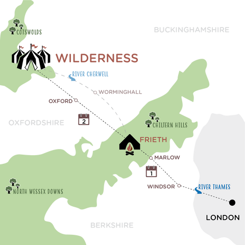 London to Wilderness Map