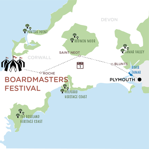 Plymouth to Boardmasters map