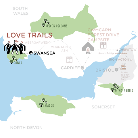 Swansea to Love Trails map