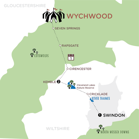 Kemble to Wychwood map