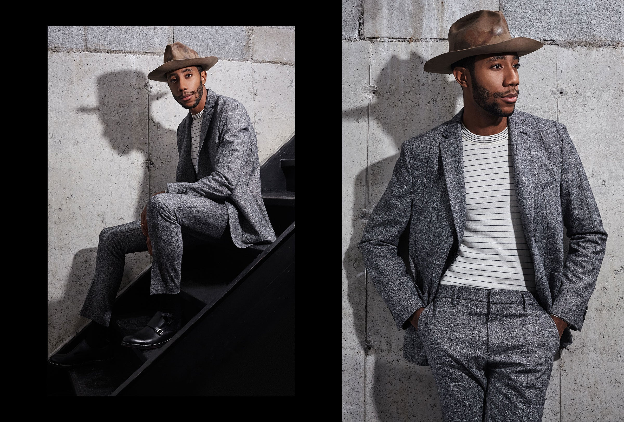 La Touche wears the Salt and Pepper Blazer and Trouser in Grey.