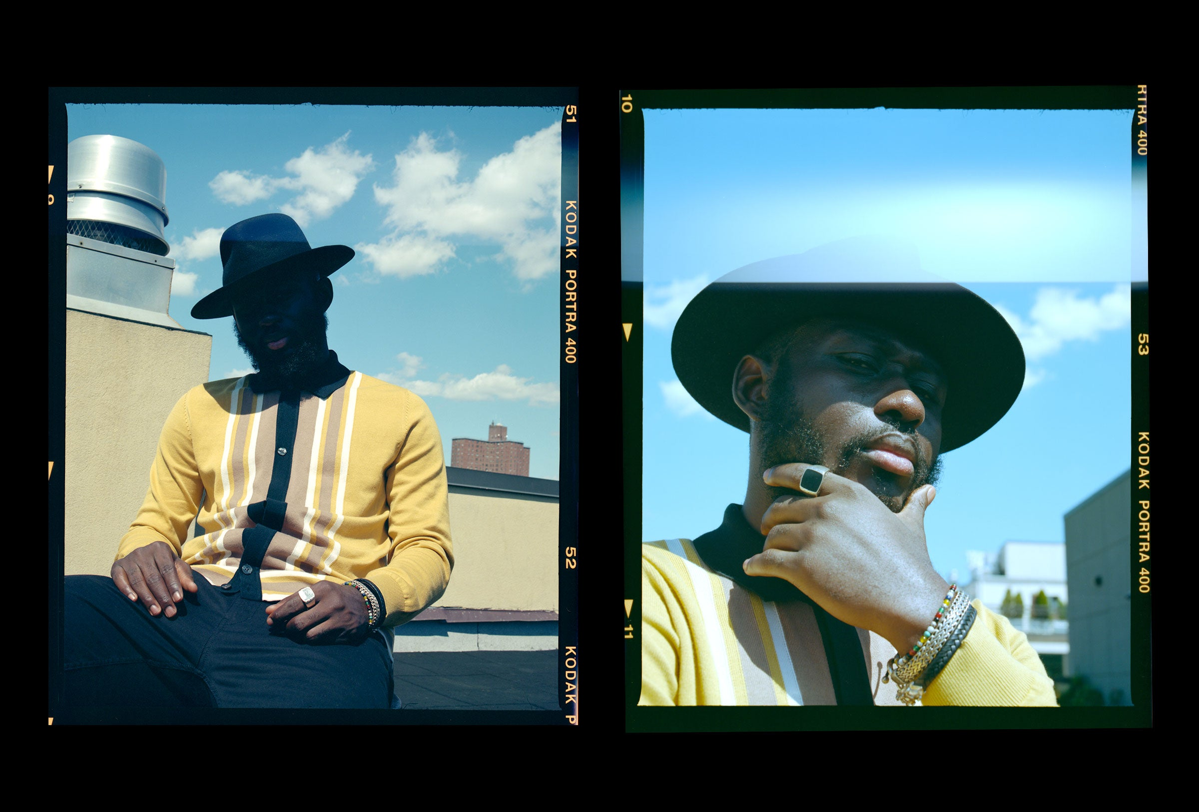 The Series: Steven Onoja - wearing the Ben Sherman Long-sleeve Mod Buttoned Polo Shirt in Dijon Yellow