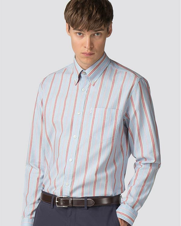 Long-Sleeved Archive Brighton Striped Shirt in Robbia Blue