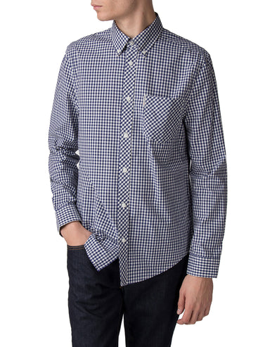 Long-Sleeve Gingham Shirt - Blue Depths