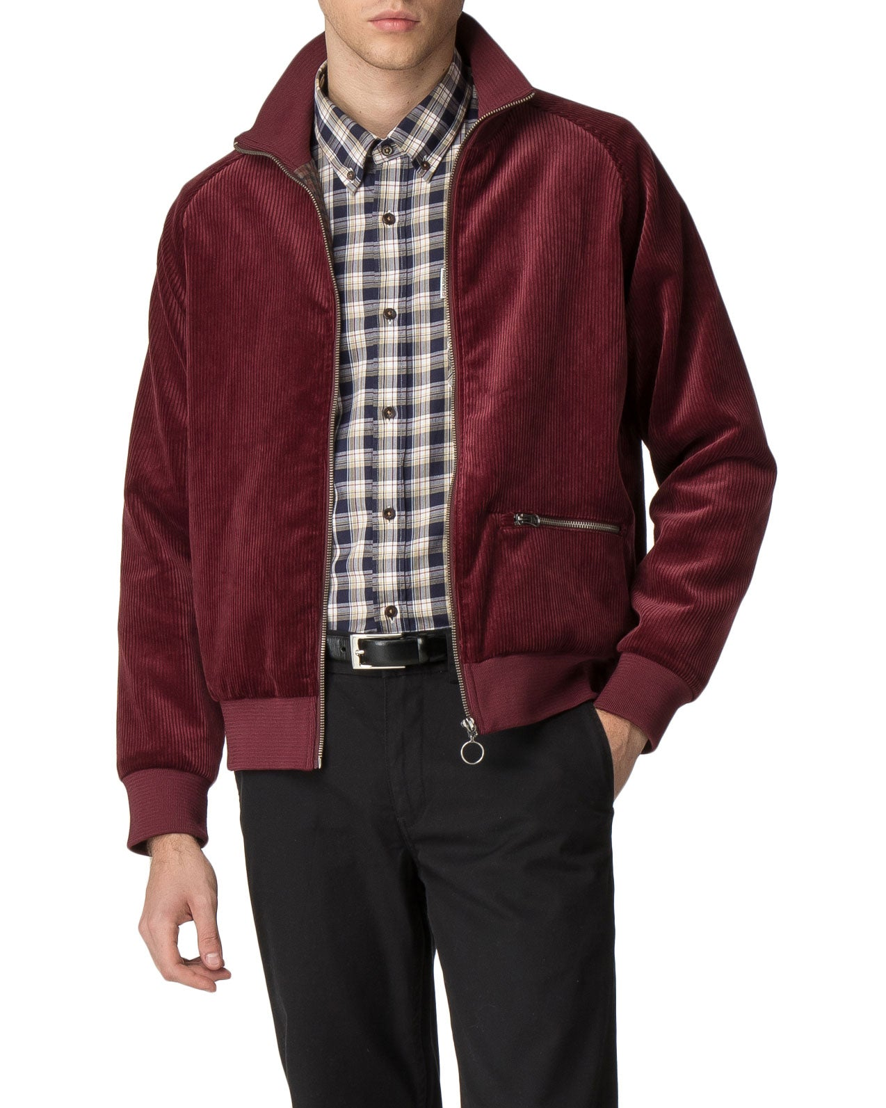 Cord/Faux Suede Track Jacket - Burgundy