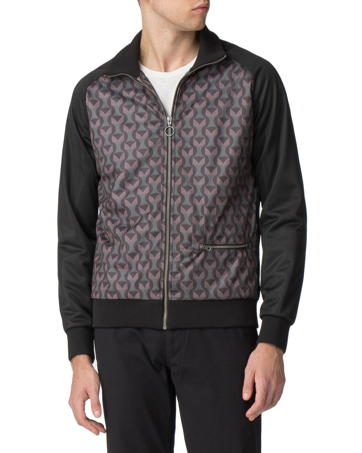 Printed Owl Track Jacket - Black