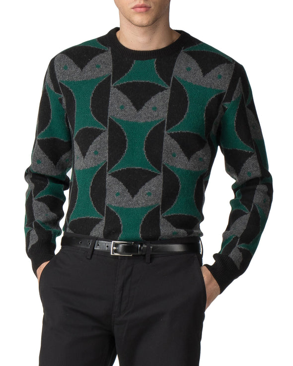 Owl Jacquard Sweater - Black