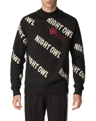 Night Owl Jacquard Knit Sweater - Black