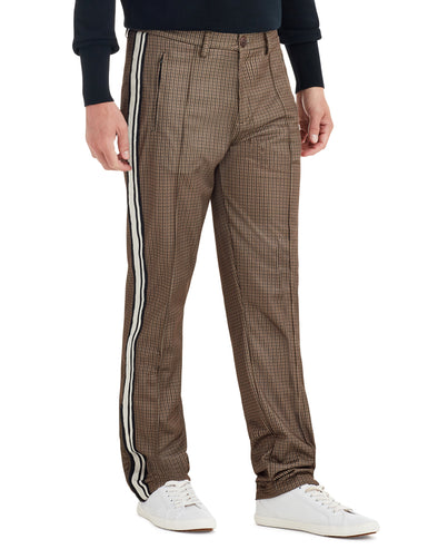 Dog Tooth Print Side Stripe Track Pant - Camel