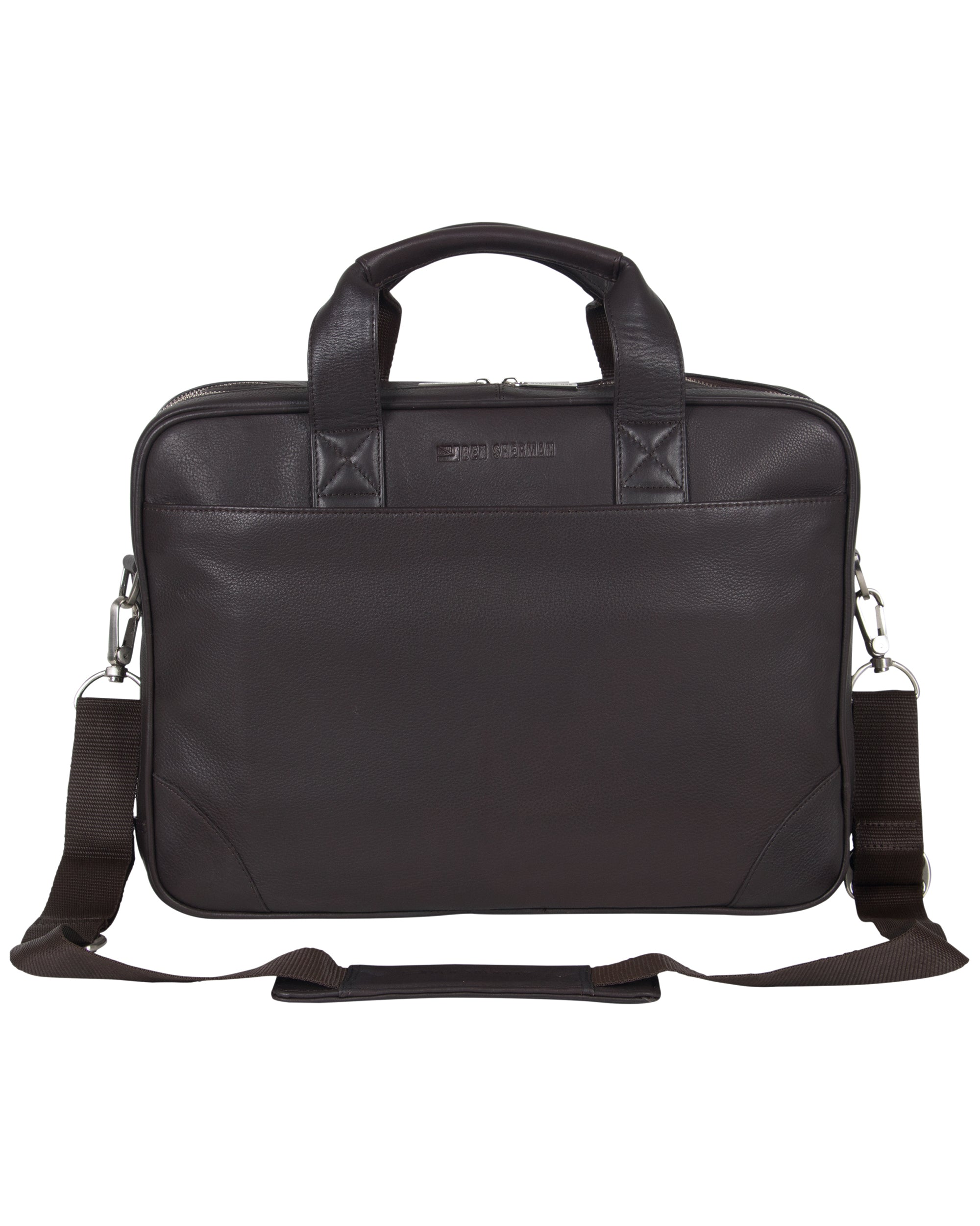 "Karino Leather Top-Zip Double-Compartment 15"" Computer Case / Business Portfolio - Brown"
