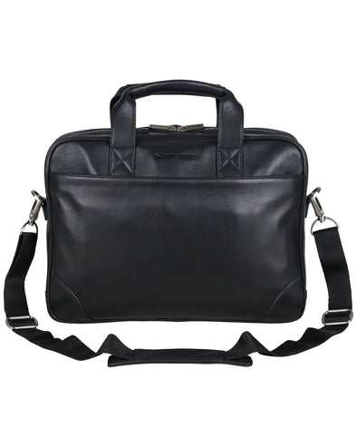"Karino Leather Top-Zip Double-Compartment 15"" Computer Case / Business Portfolio - Black"