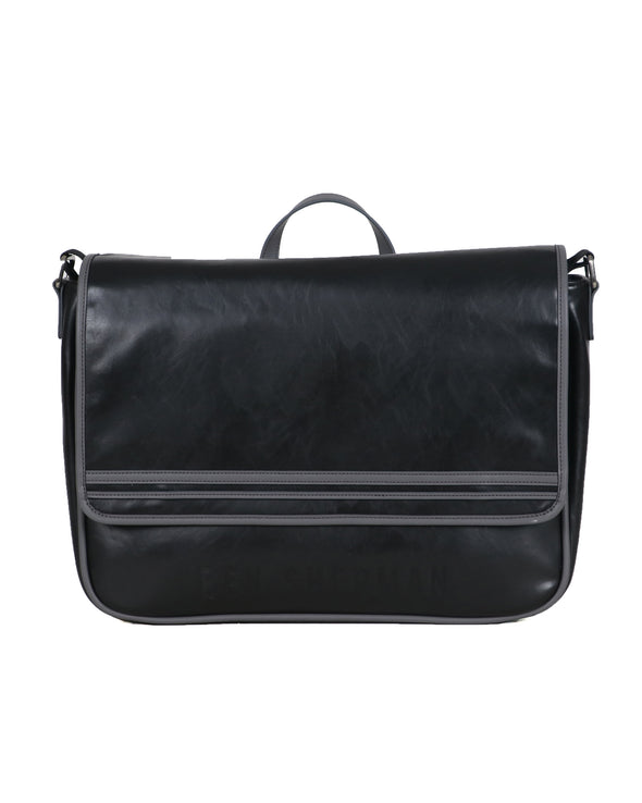 Faux Leather Flapover Crossbody Messenger Bag - Black/Charcoal