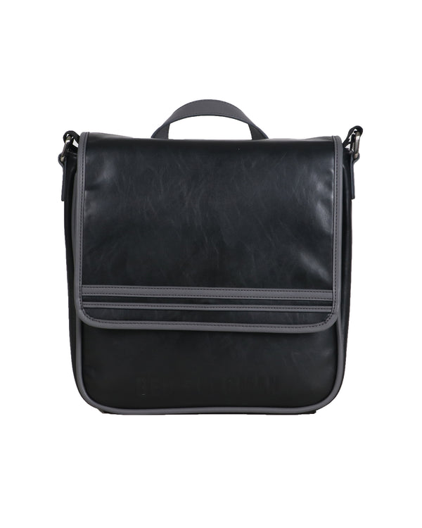 14d8304728a3 Faux Leather Flapover Crossbody Tablet Bag - Black/Charcoal