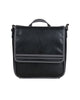 Faux Leather Flapover Crossbody Tablet Bag - Black/Charcoal