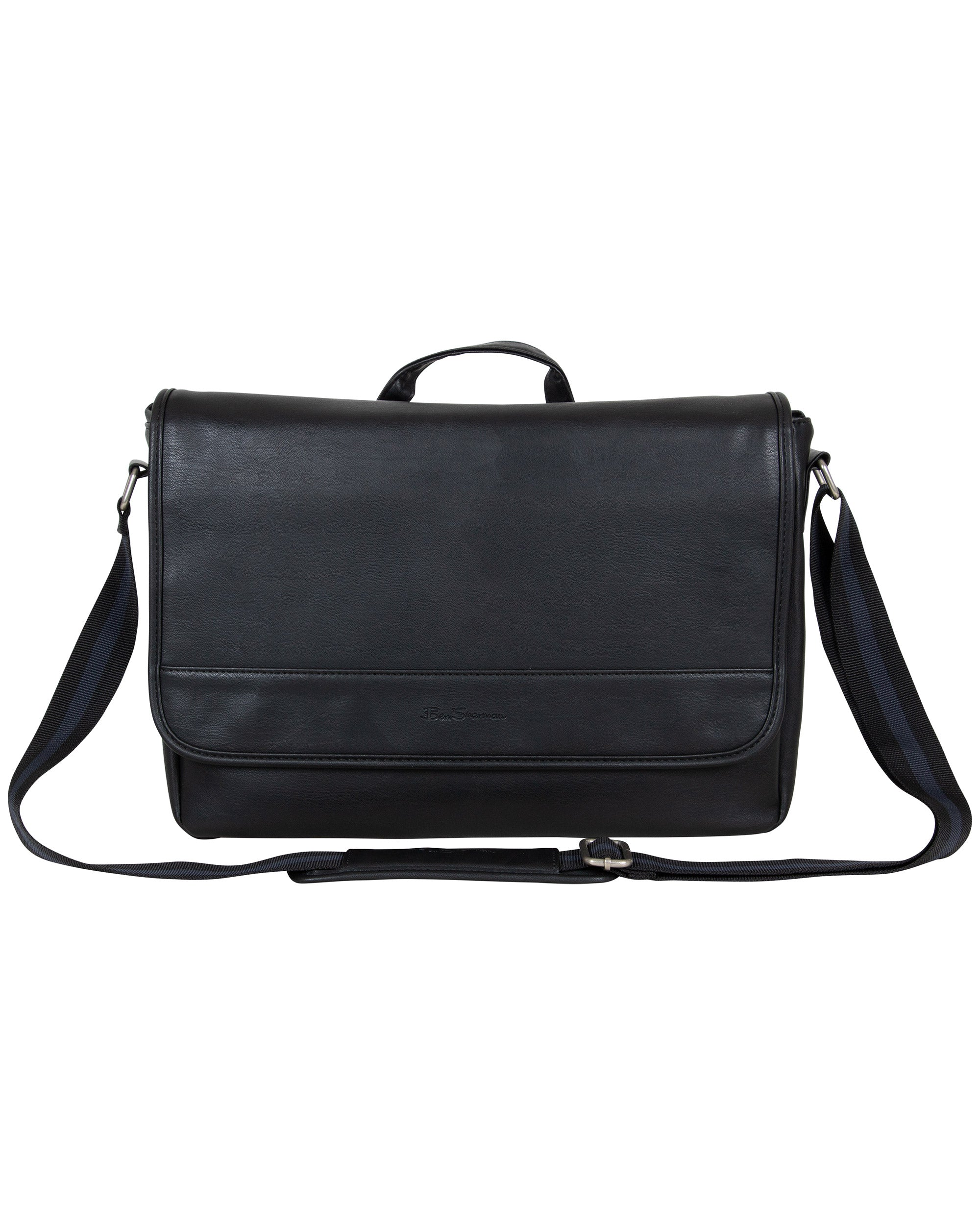 "Pristine Prominence Single-Compartment Flapover 15"" Laptop Messenger Bag - Black"